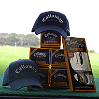 Callaway golf balls, baseball caps and golf gloves at Golf range Buxton Derbyshire