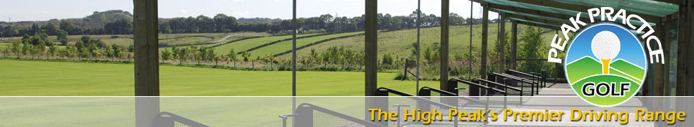 Outdoor bays at Peak Practice Golf driving range Buxton Derbyshire