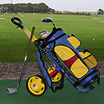 Junior bags trolleys and clubs suitable from age four years and upwards